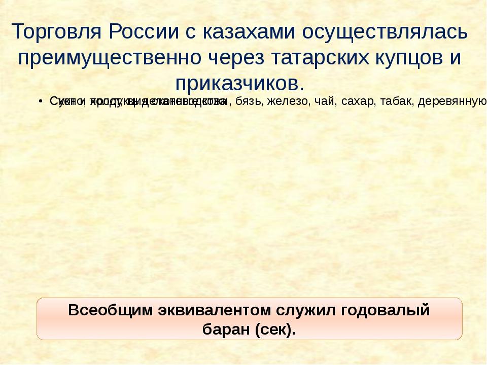 Торговля России с казахами осуществлялась преимущественно через татарских куп...