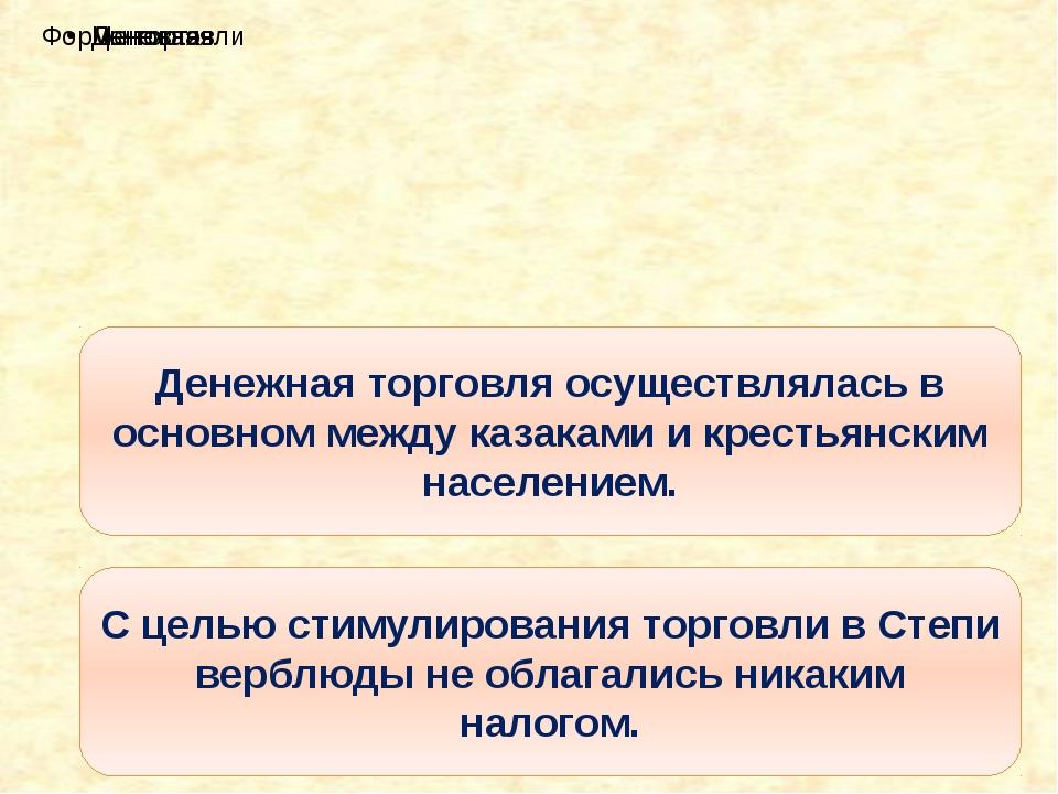 Денежная торговля осуществлялась в основном между казаками и крестьянским нас...