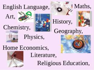 English Language, Art, Maths, Chemistry, History, Physics, Geography, Religio