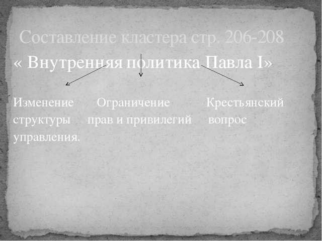 « Внутренняя политика Павла I»  Изменение Ограничение Крестьянский структуры...