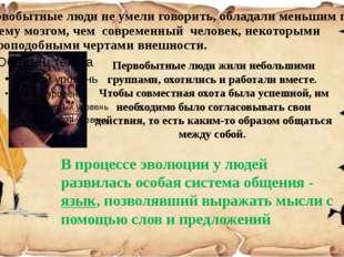 Первобытные люди не умели говорить, обладали меньшим по объему мозгом, чем