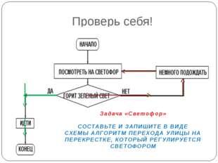 Проверь себя! Задача «Светофор» СОСТАВЬТЕ И ЗАПИШИТЕ В ВИДЕ СХЕМЫ АЛГОРИТМ ПЕ