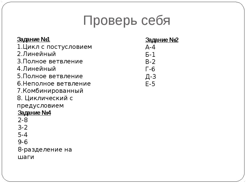 Проверь себя Задание №1 1.Цикл с постусловием 2.Линейный 3.Полное ветвление 4...