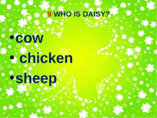 9 WHO IS DAISY? cow chicken sheep
