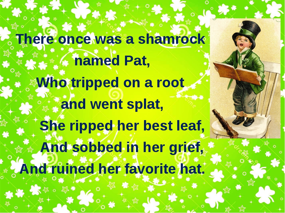 There once was a shamrock named Pat, Who tripped on a root and went splat, Sh...