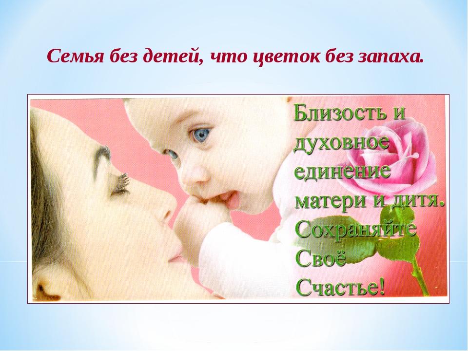 Семья без детей, что цветок без запаха.