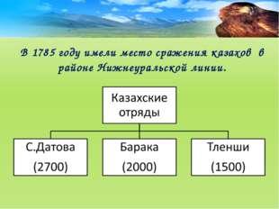 В 1785 году имели место сражения казахов в районе Нижнеуральской линии.