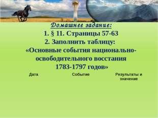 Домашнее задание: 1. § 11. Cтраницы 57-63 2. Заполнить таблицу: «Основные соб