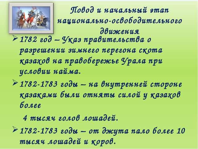 Повод и начальный этап национально-освободительного движения 1782 год – Указ...