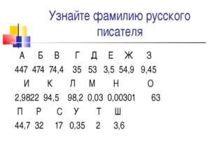 Узнайте фамилию русского писателя А Б В Г Д Е Ж З 447 474 74,4 35 53 3,5 54,9