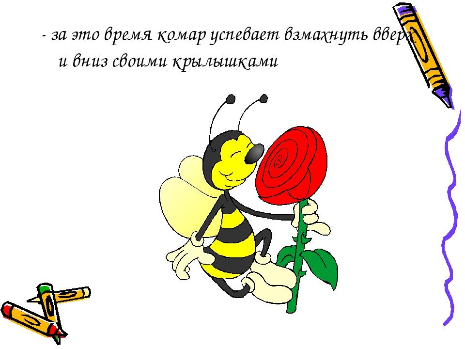 - за это время комар успевает взмахнуть вверх и вниз своими крылышками