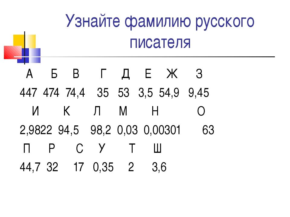 Узнайте фамилию русского писателя А Б В Г Д Е Ж З 447 474 74,4 35 53 3,5 54,9...