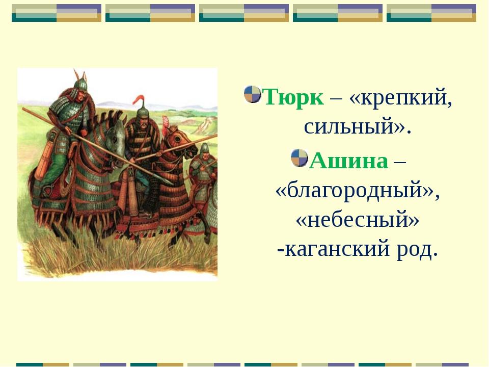 Тюрк – «крепкий, сильный». Ашина – «благородный», «небесный» -каганский род.