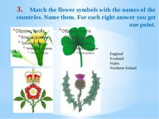 Match the flower symbols with the names of the countries. Name them. For each