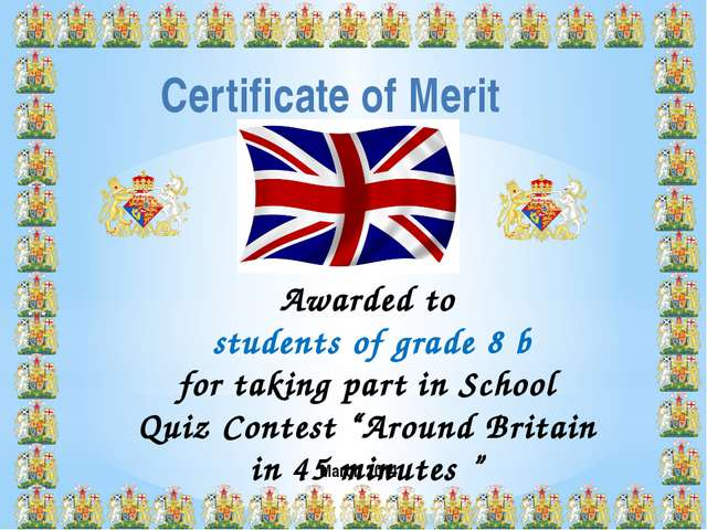 Certificate of Merit Awarded to students of grade 8 b for taking part in Scho...