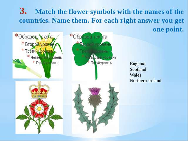 Match the flower symbols with the names of the countries. Name them. For each...
