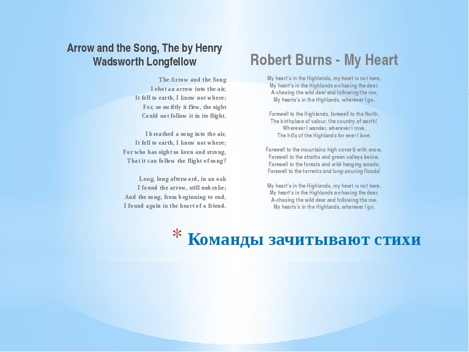 Arrow and the Song, The by Henry Wadsworth Longfellow The Arrow and the Song...