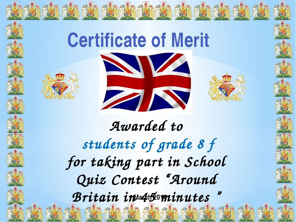 Certificate of Merit Awarded to students of grade 8 f for taking part in Scho...