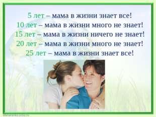 5 лет – мама в жизни знает все! 10 лет – мама в жизни много не знает! 15 лет