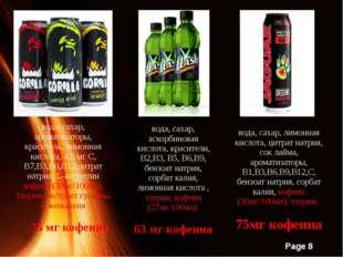 вода, сахар, ароматизаторы, краситель, лимонная кислота, 4,5 мг С, В7,В3,В6,