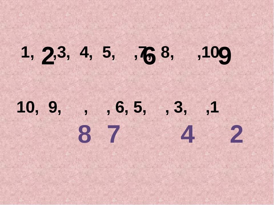 1, ,3, 4, 5, ,7, 8, ,10 10, 9, , , 6, 5, , 3, ,1 2 6 9 8 7 4 2