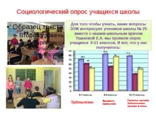 Социологический опрос учащихся школы Для того чтобы узнать, какие вопросы ЗОЖ