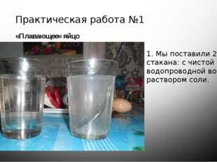 Практическая работа №1 «Плавающее» яйцо 1. Мы поставили 2 стакана: с чистой