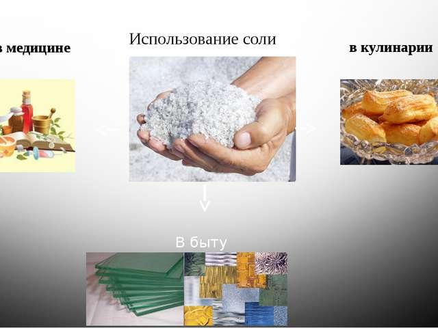 Использование соли в медицине в кулинарии В быту