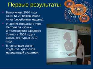 Первые результаты Выпускница 2010 года СОШ № 25 Кожевникова Анна (серебряная
