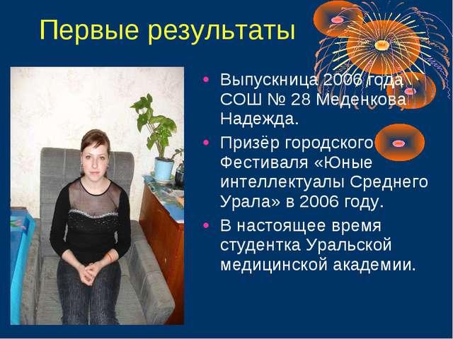 Первые результаты Выпускница 2006 года СОШ № 28 Меденкова Надежда. Призёр гор...