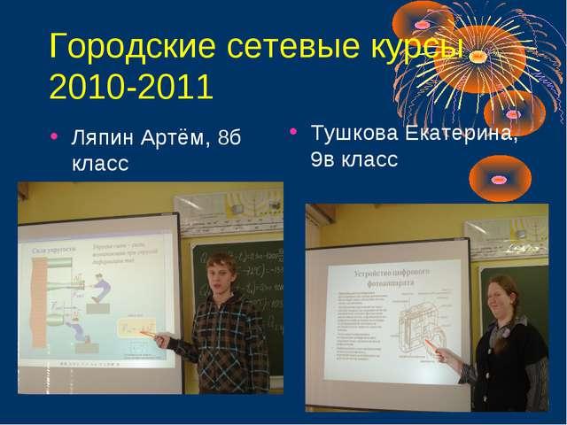 Городские сетевые курсы 2010-2011 Ляпин Артём, 8б класс Тушкова Екатерина, 9в...