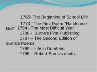 """1765- The Beginning of School Life 1773 - The First Poem """"Handsome Nell"""" 178"""