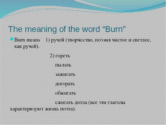 "The meaning of the word ""Burn"" Burn means 1) ручей (творчество, поэзия чистое..."