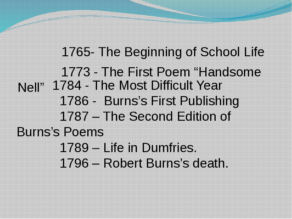 """1765- The Beginning of School Life 1773 - The First Poem """"Handsome Nell"""" 178..."""