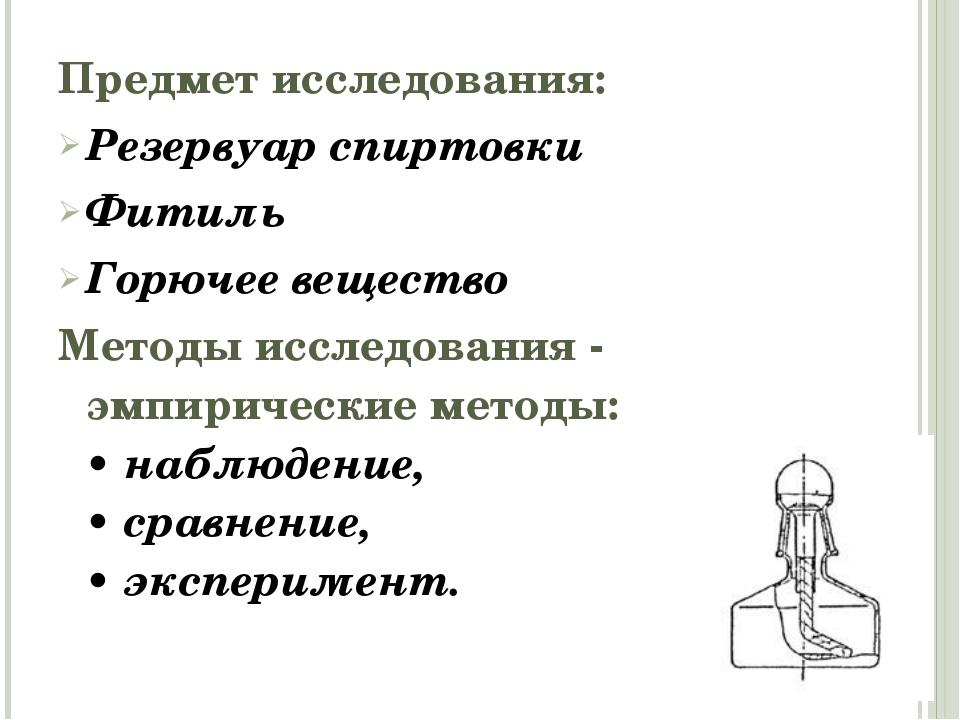 Предмет исследования: Резервуар спиртовки Фитиль Горючее вещество Методы иссл...