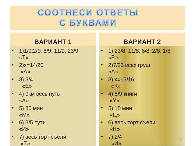 ВАРИАНТ 1 1)1/9;2/9; 6/9; 11/9; 23/9 «Т» 2)х=14/20 «А» 3) 3/4 «Е» 4) 9км весь...