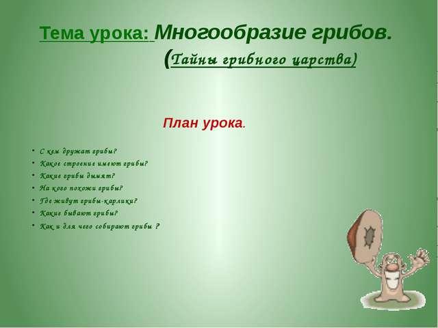 Тема урока: Многообразие грибов. (Тайны грибного царства) План урока. С кем д...