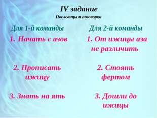 IV задание Пословицы и поговорки Для 1-й команды 1. Начать с азов 2. Прописа