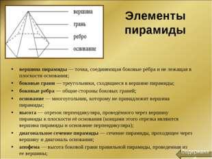 Элементы пирамиды вершина пирамиды— точка, соединяющая боковые рёбра и не ле