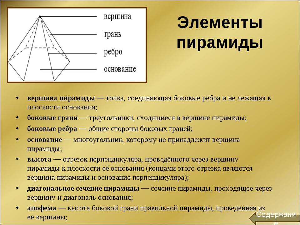 Элементы пирамиды вершина пирамиды— точка, соединяющая боковые рёбра и не ле...