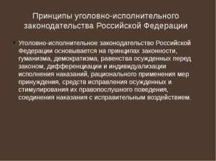 Принципы уголовно-исполнительного законодательства Российской Федерации Уголо