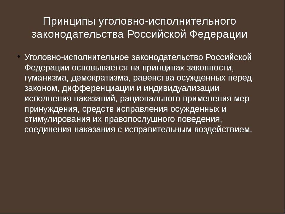 Принципы уголовно-исполнительного законодательства Российской Федерации Уголо...