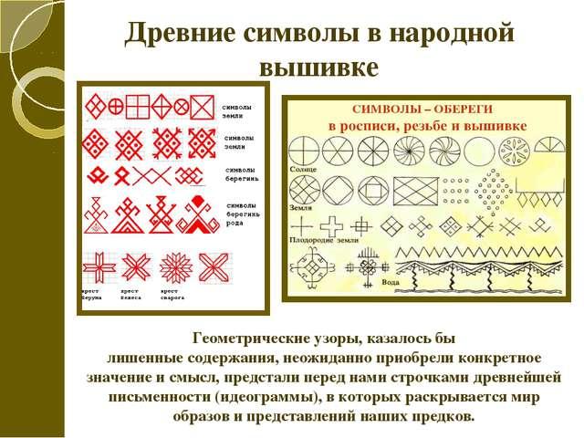 Древние символы в народной вышивке Геометрические узоры, казалось бы лишенные...