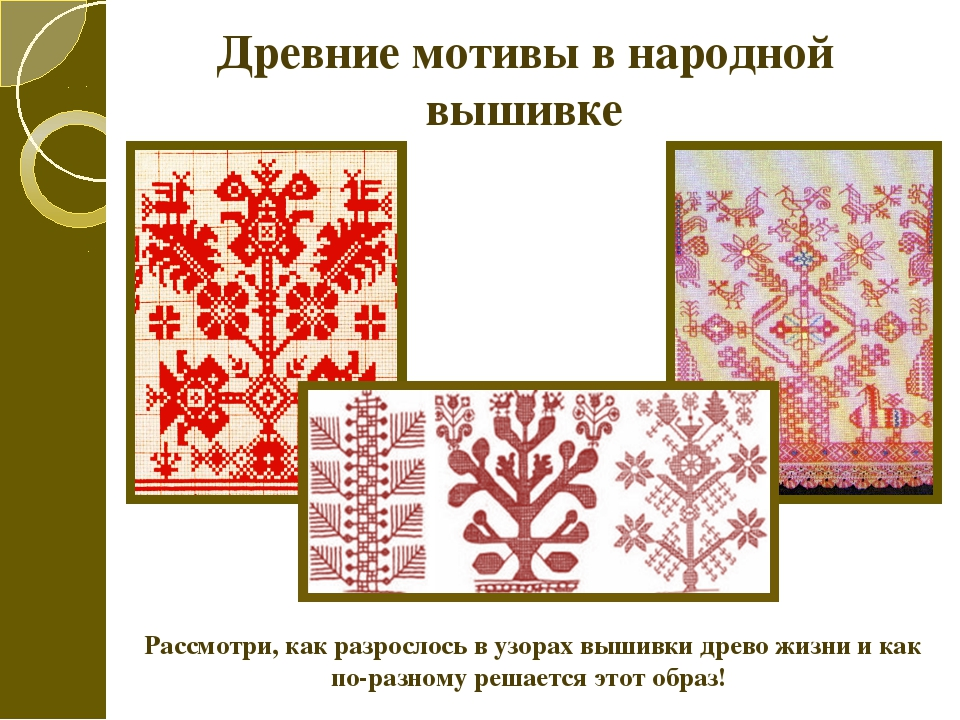 Древние мотивы в народной вышивке Рассмотри, как разрослось в узорах вышивки...