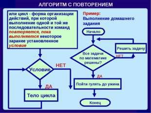 АЛГОРИТМ С ПОВТОРЕНИЕМ или цикл - форма организации действий, при которой вып