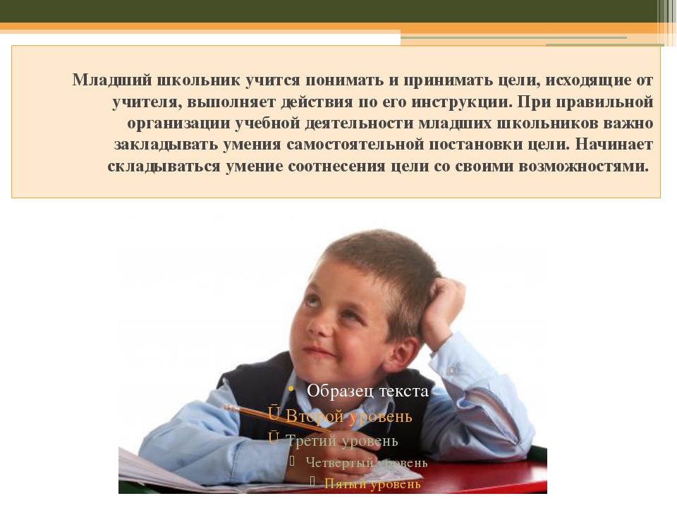 Младший школьник учится понимать и принимать цели, исходящие от учителя, вып...