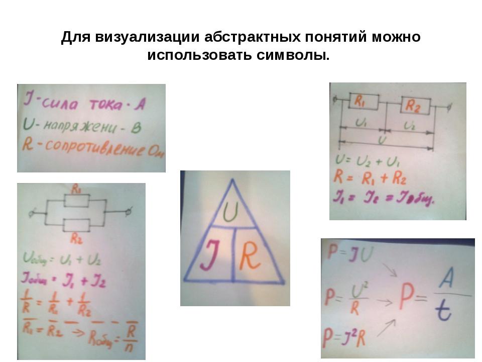 Для визуализации абстрактных понятий можно использовать символы.