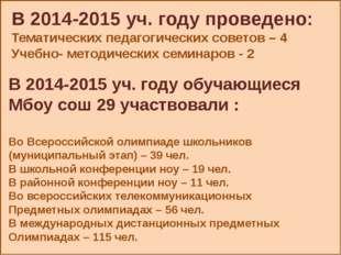 В 2014-2015 уч. году проведено: Тематических педагогических советов – 4 Учеб