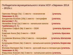 Победители муниципального этапа НОУ «Эврика» 2014 – 2015г.г. Орехова Влада (