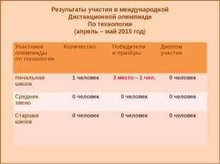 Результаты участия в международной Дистанционной олимпиаде По технологии (ап